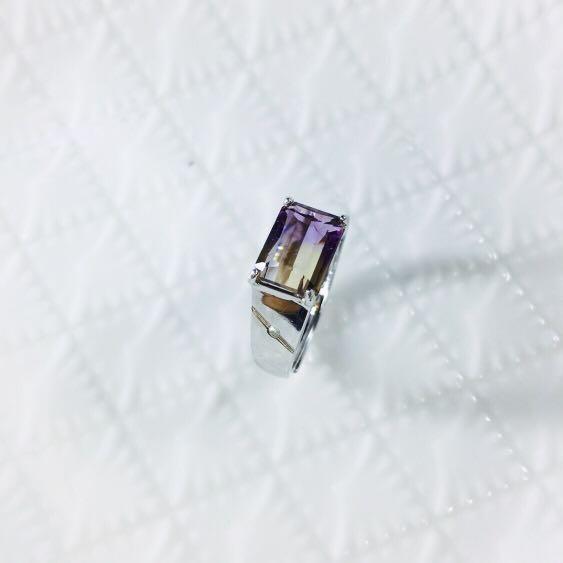 天然紫黃晶戒指 男戒 中性戒 S925純銀鍍白k金活圍戒指 3.92克拉