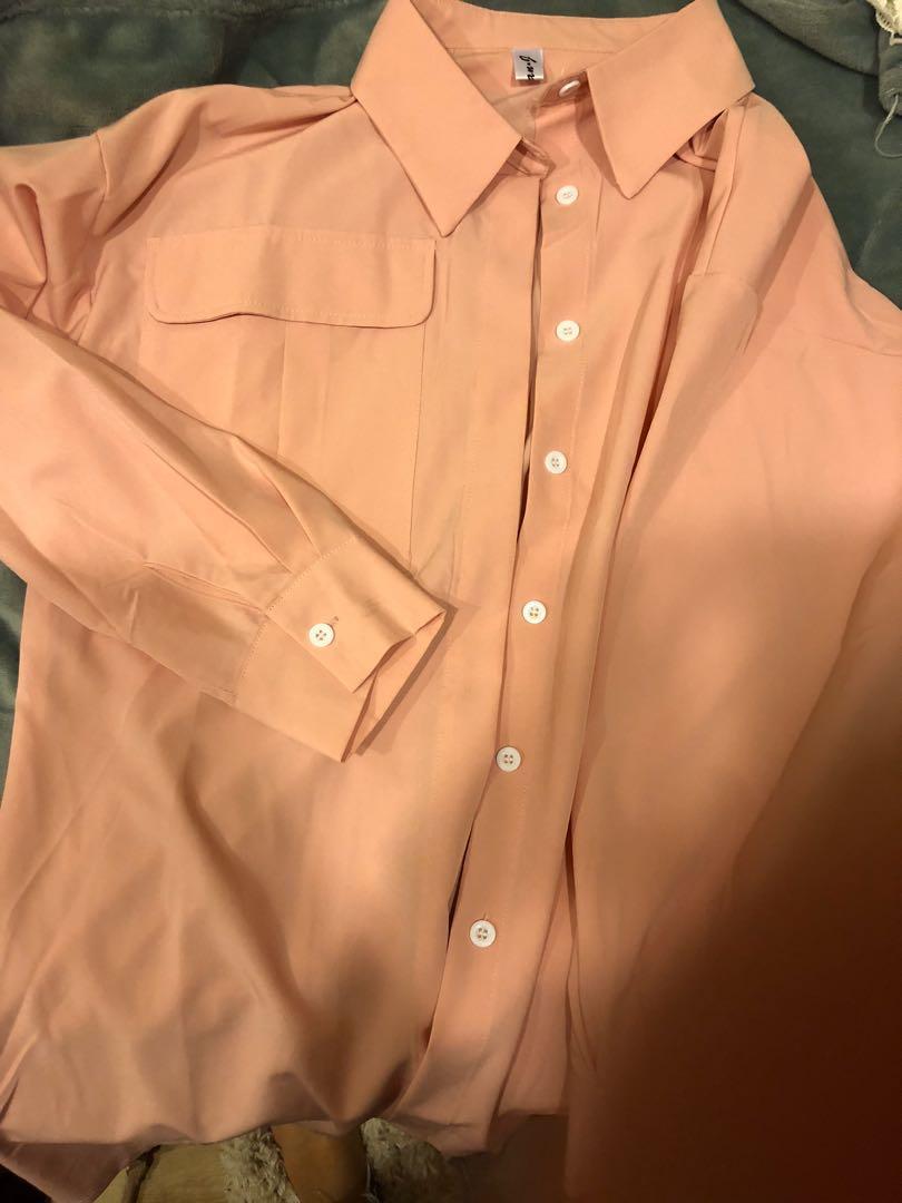 粉色長版襯衫#五折清衣櫃