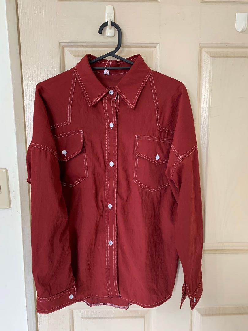 紅色縫線襯衫