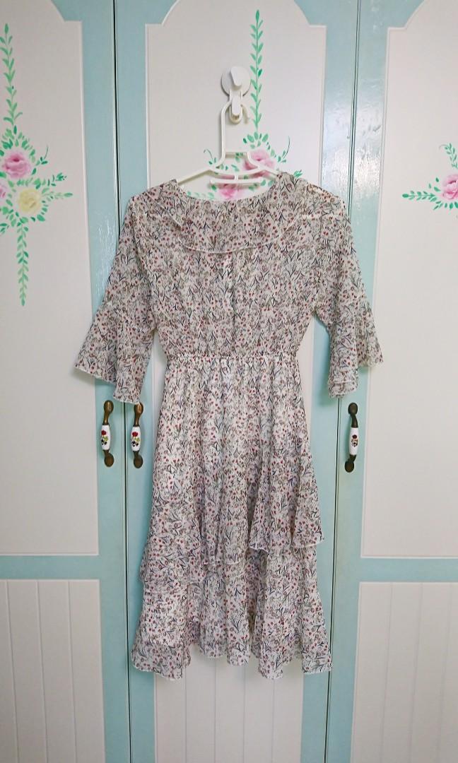 荷葉雪紡長洋裝#五折清衣櫃