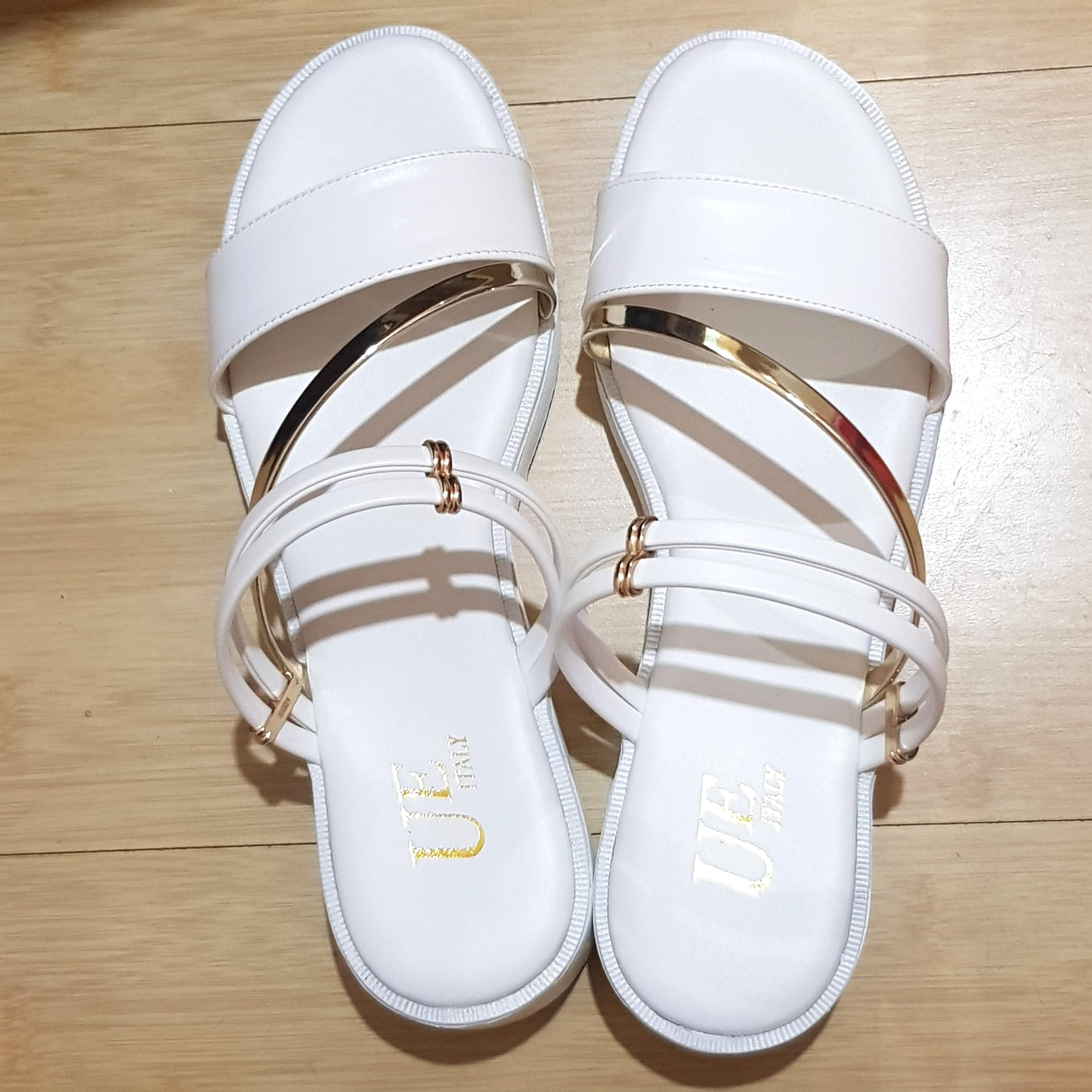 拖鞋 涼鞋 兩穿 純白色 #五折清衣櫃