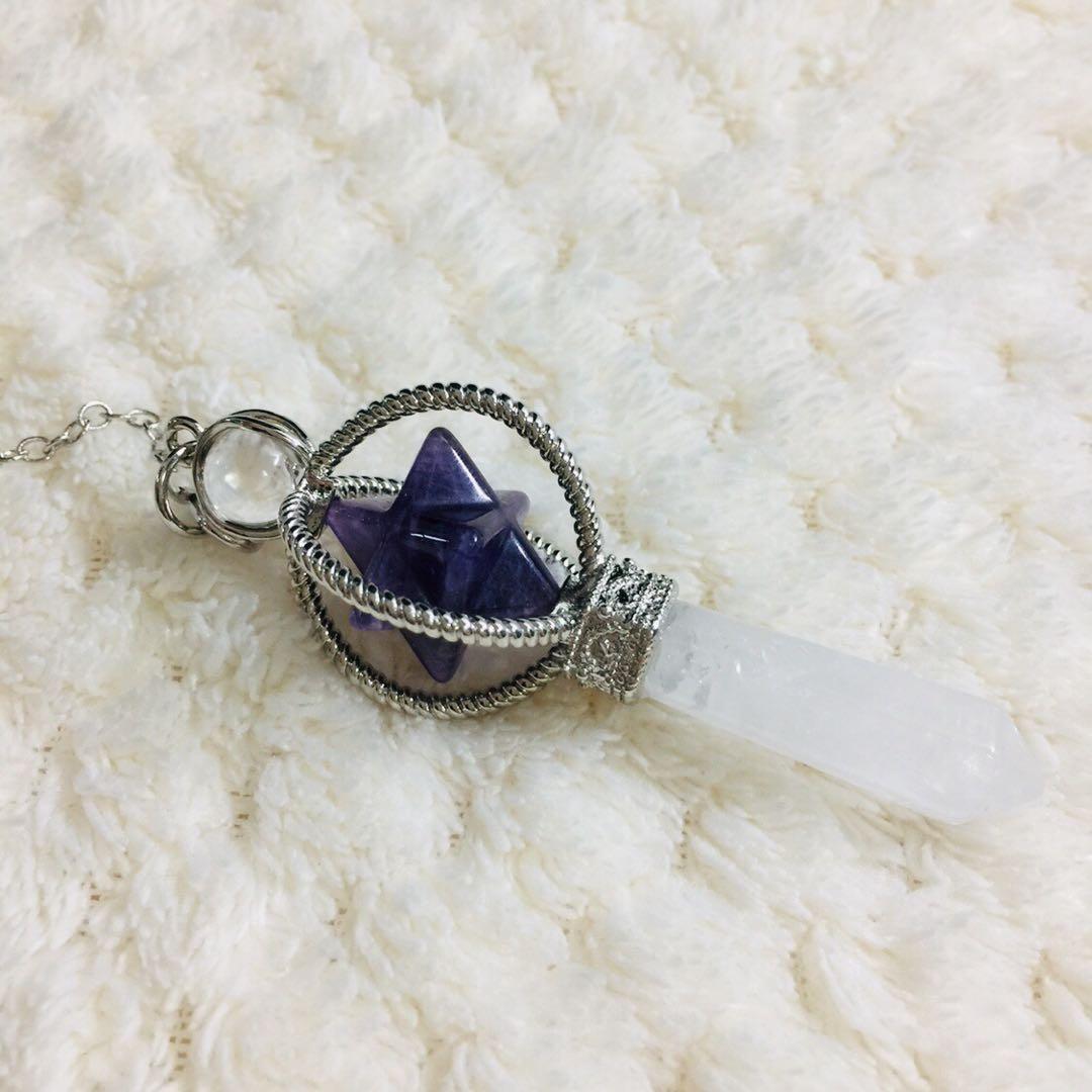 天然 紫水晶 白水晶 立體六角星六芒星 梅爾卡巴權杖靈擺占卜能量石 靈修 療癒 冥想 占卜吊墜 項鍊 銀鏈  尺寸:高7公分 鍊子:長17公分