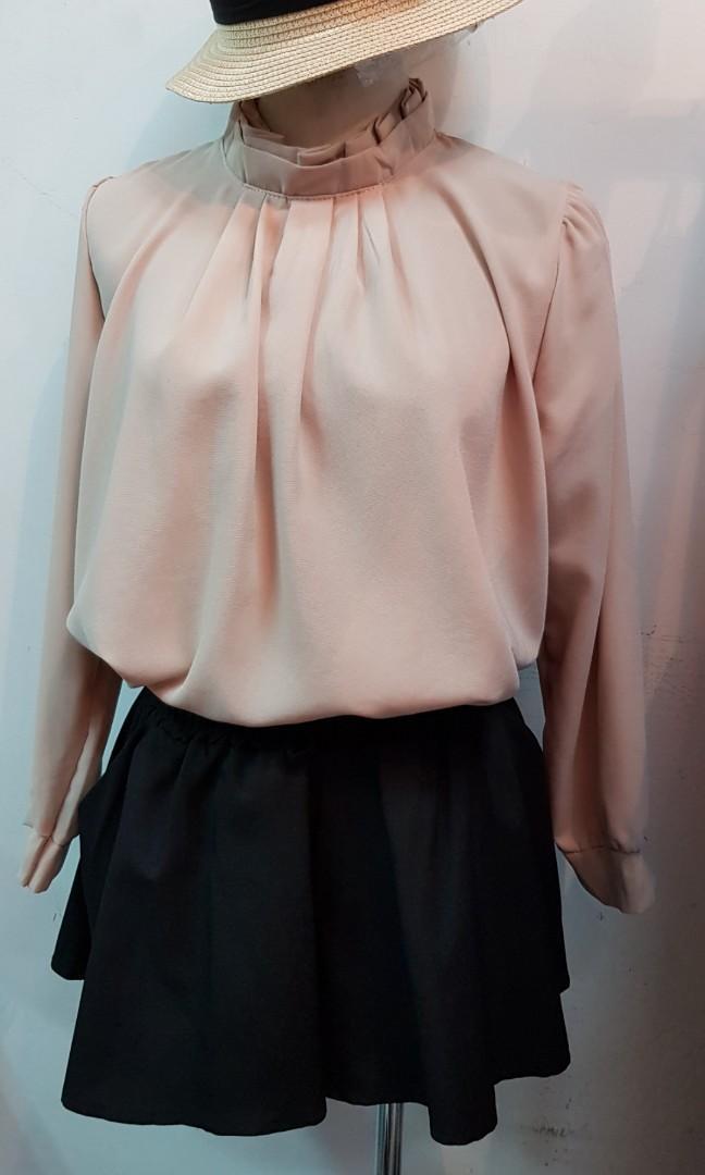 韓國花邊領厚雪紡上衣 卡其色(S~M號都可穿)