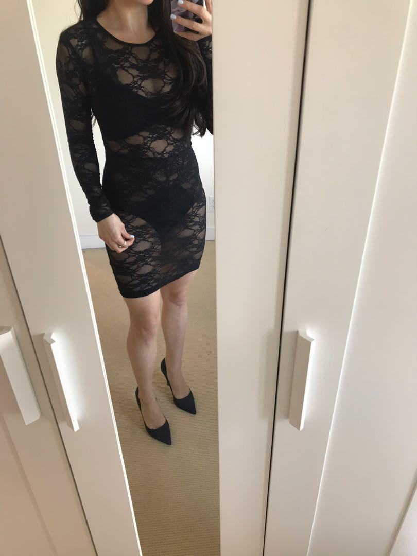 American Apparel Black Long Sleeve Lace Dress Size Small
