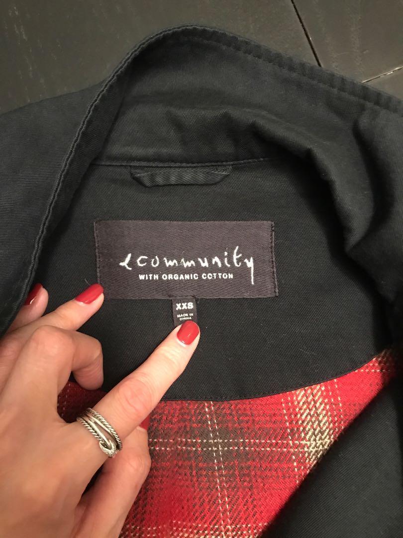 Aritzia Community Organic Cotton Black Canvas Jacket Size Small