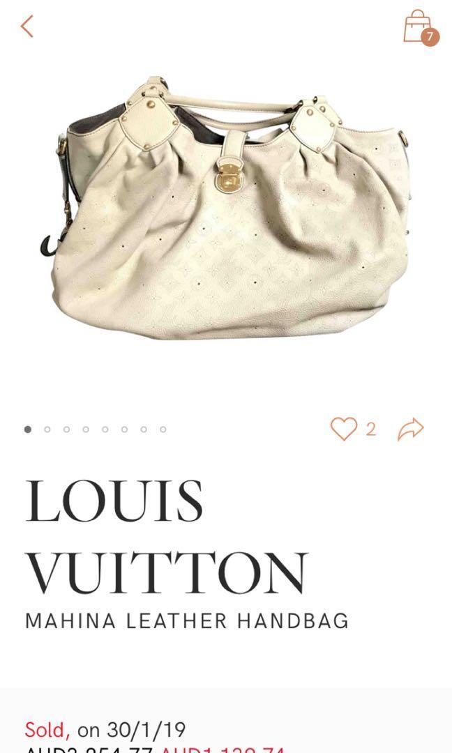 Authentic LOUIS VUITTON MAHINA LEATHER ECRU XL