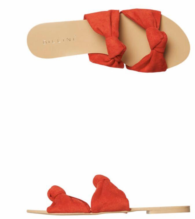 BILLINI RED SUEDE SANDALS SZ 8 / 39 vgc barely used