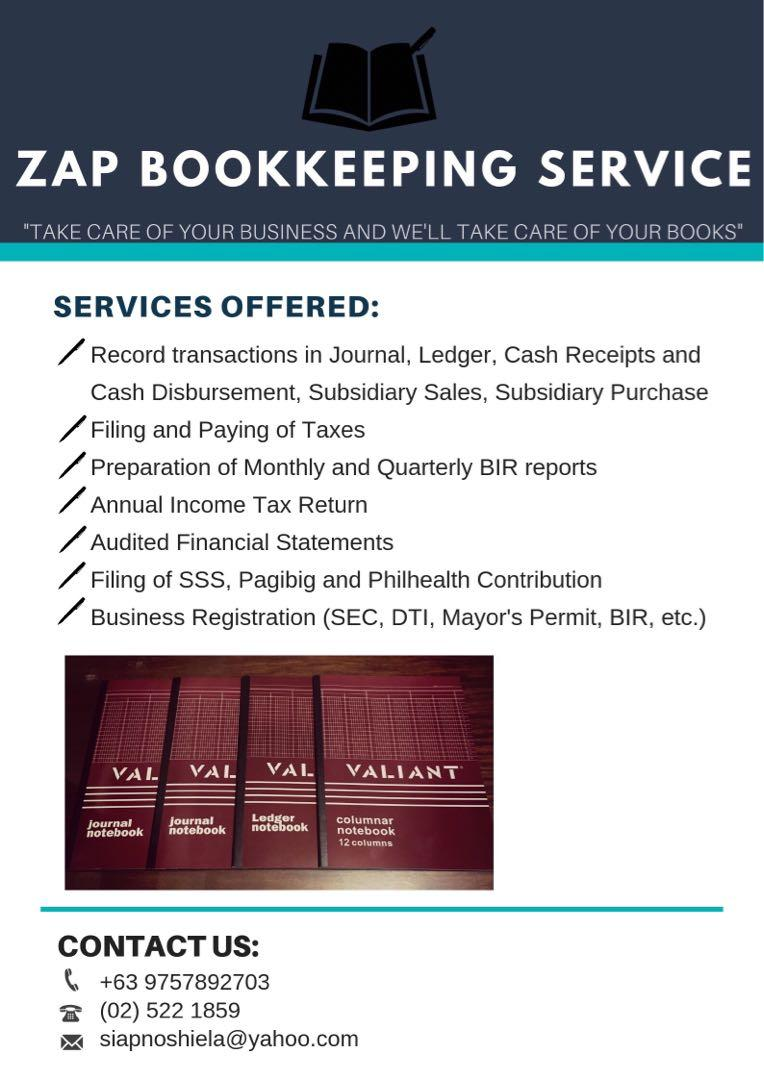 Accountant Bookkeeper Bookkeeping CPA Accredited by BOA and BIR Accounting Service