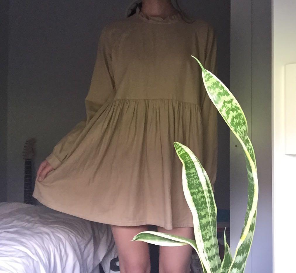 Brown mock neck babydoll dress
