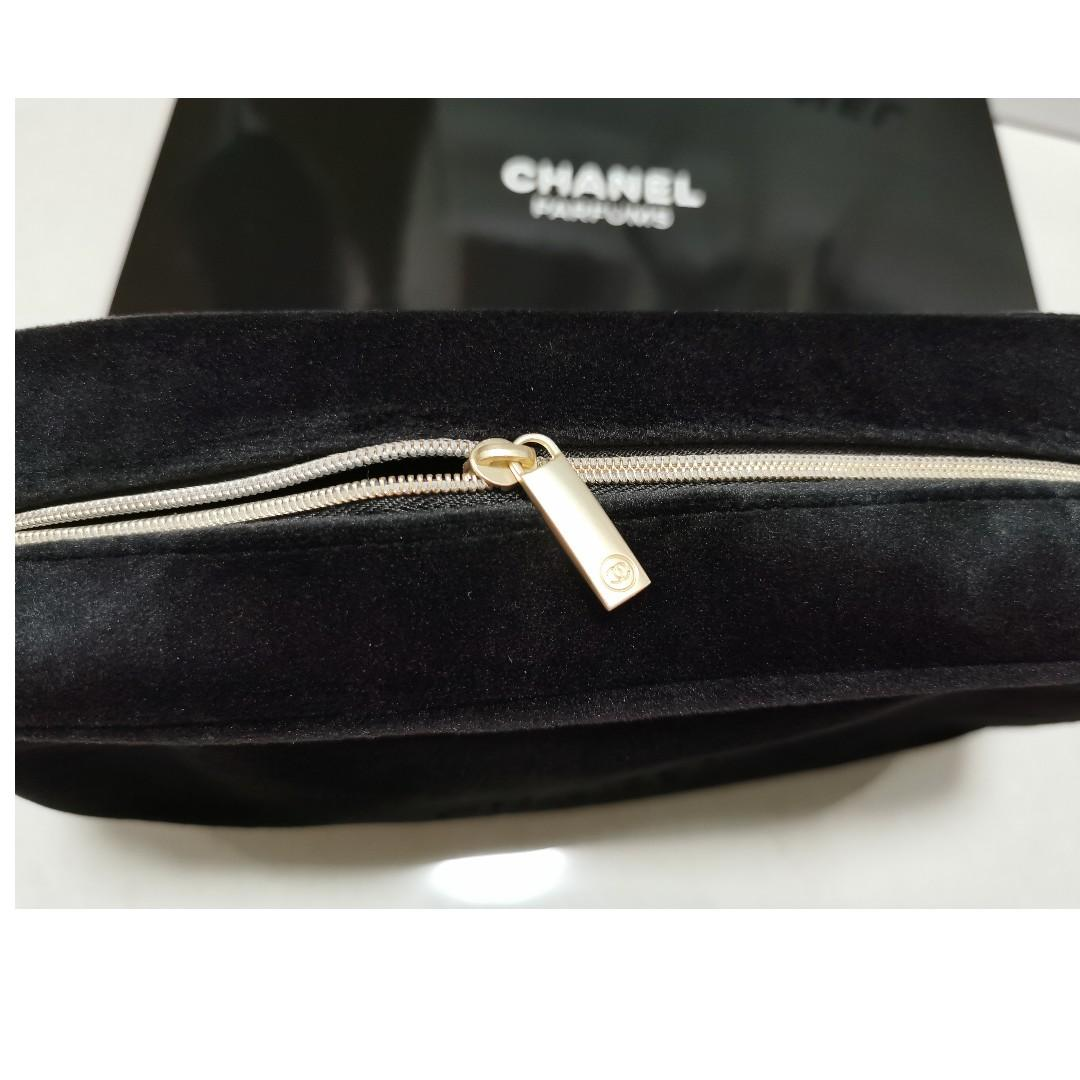 CHANEL PARFUMS EXTRA LARGE BLACK VELVET Bag /Pouch ~ Brand New With Box 077.653