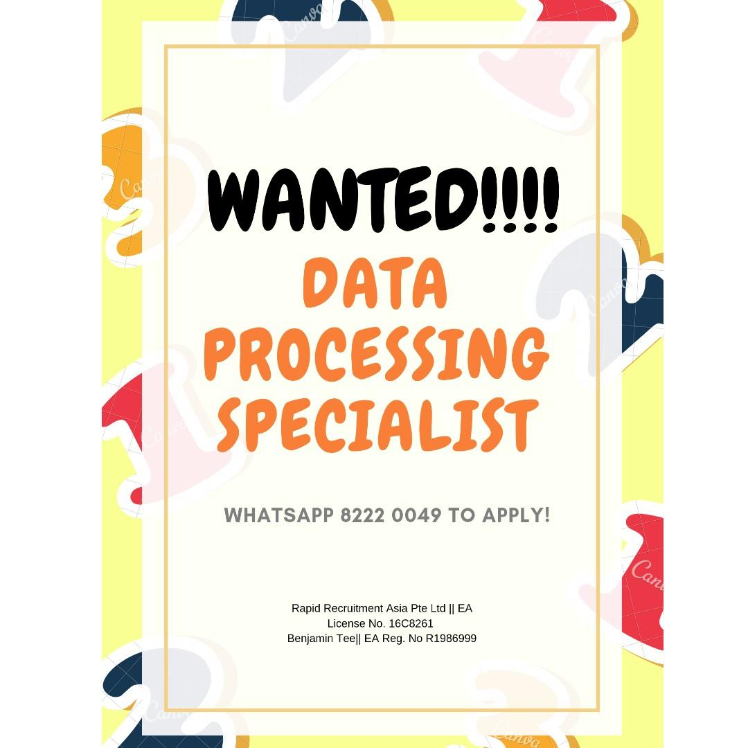 Data Processing Specialist @ Central/East !!!