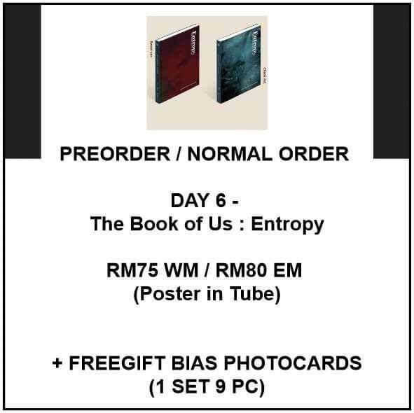 DAY 6 -  Day6 The Book of Us : Entropy - PREORDER/NORMAL ORDER/GROUP ORDER/GO + FREE GIFT BIAS PHOTOCARDS (1 ALBUM GET 1 SET PC, 1 SET GET 9 PC)