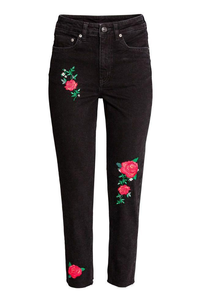 (EUR34) H&M Floral Embroidery Black Denim Jeans