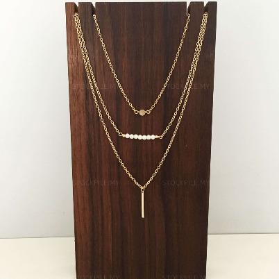GOLD PEARL LAYERED JEWELLERY CHAIN COIN MINIMALIST NECKLACE