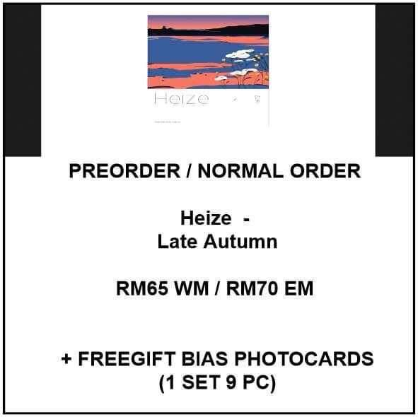 Heize  - Late Autumn - PREORDER/NORMAL ORDER/GROUP ORDER/GO + FREE GIFT BIAS PHOTOCARDS (1 ALBUM GET 1 SET PC, 1 SET GET 9 PC)