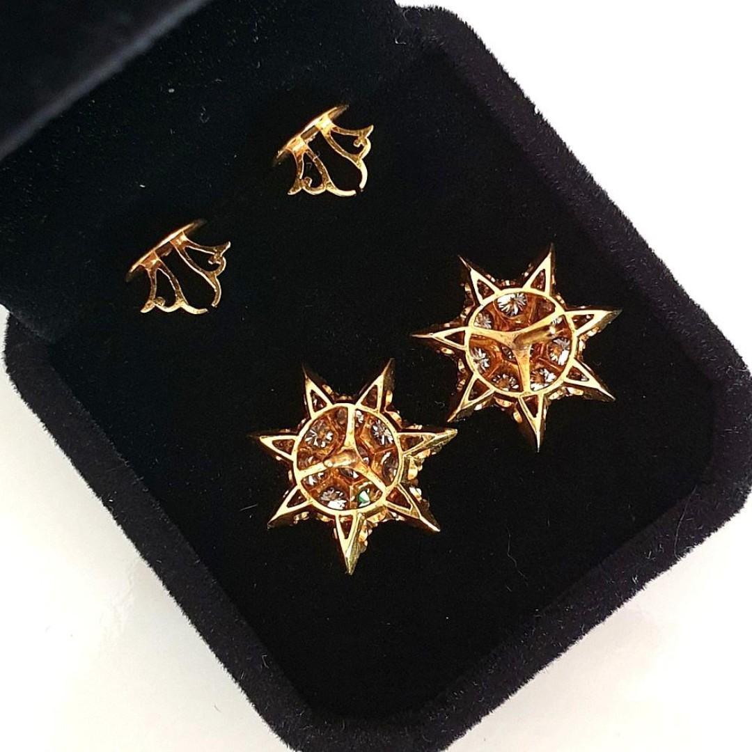<SOLD> 18k Diamond Star Earrings - Vintage Screw Back