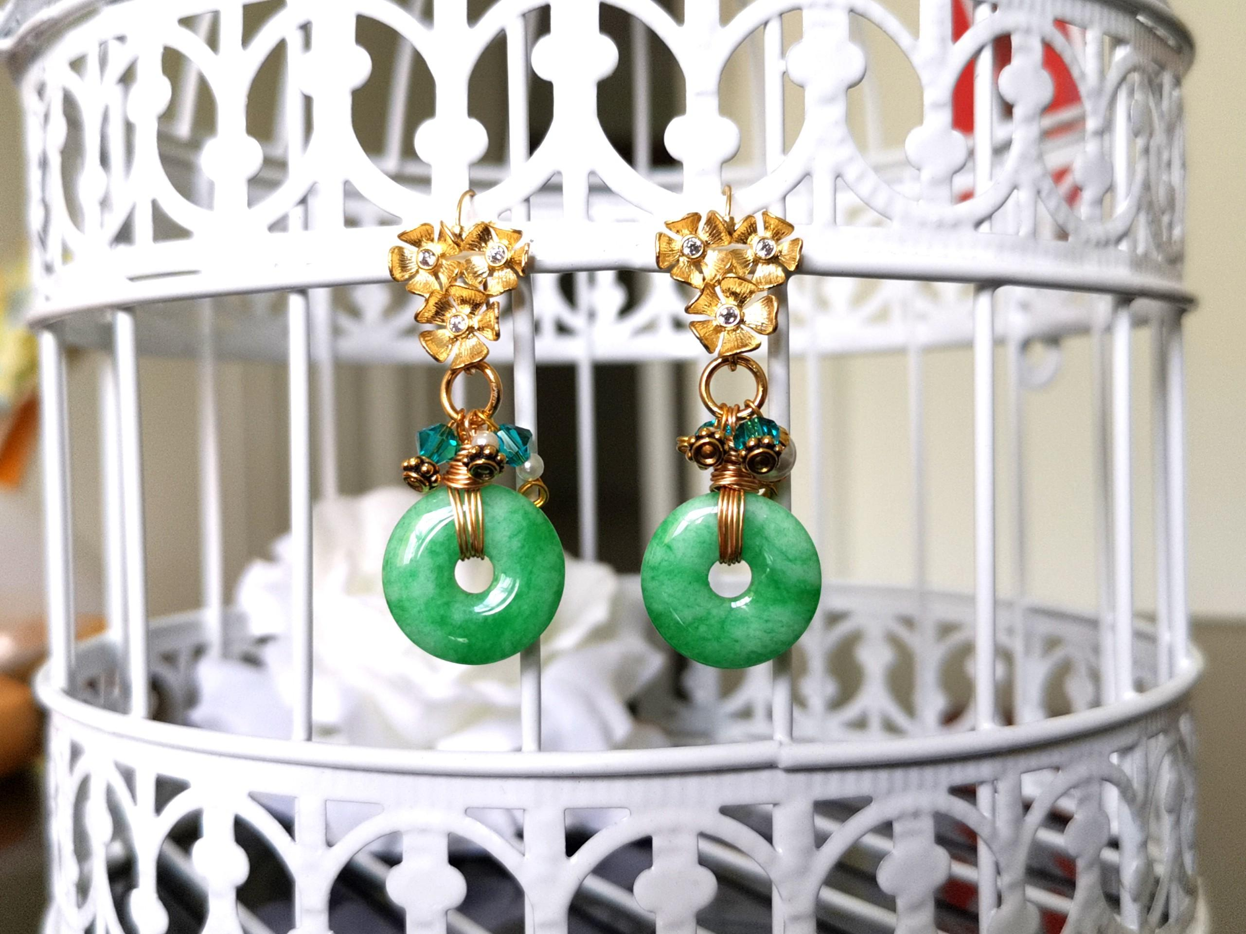 Jade With 16k Gold Plated Earrings