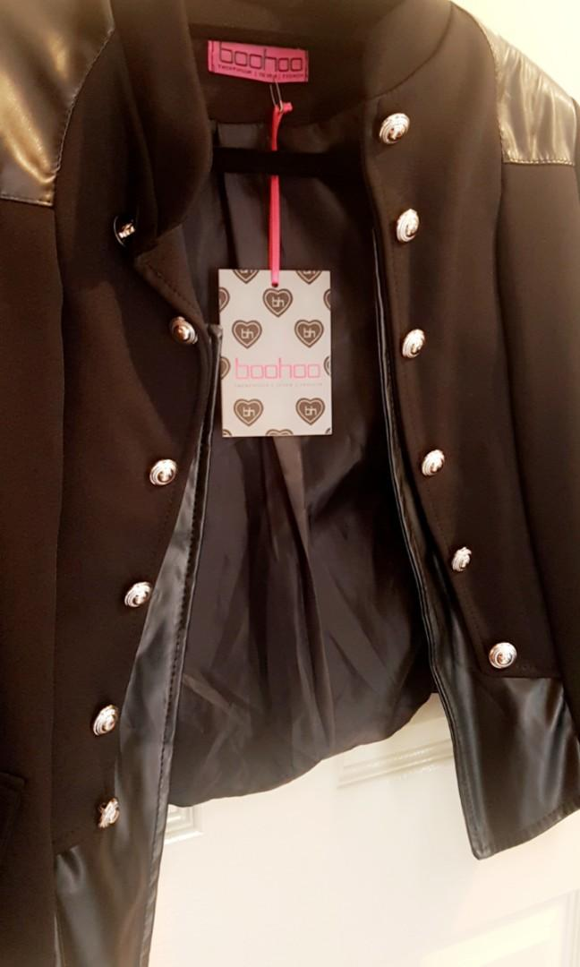 Jennie PU Trim Military style Blazer