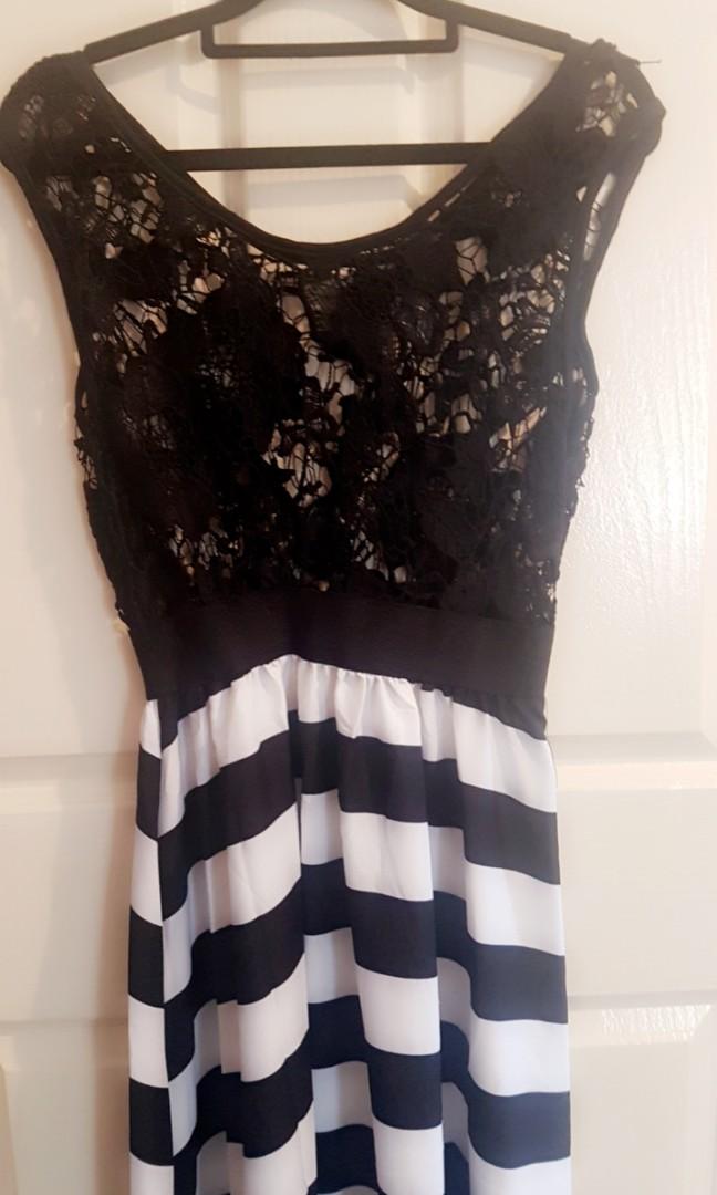 Lace and stripe maxi dress
