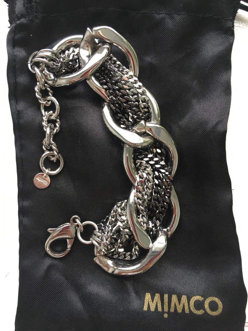 Mimco Chunky Silver/Gunmetal Twisted Chain Bracelet.