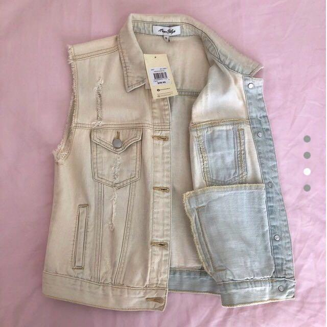 Miss Shop | Distressed Light Blue Denim Wash Vest Jacket