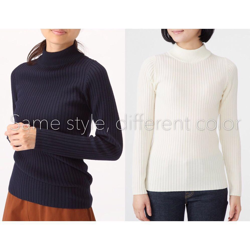 *NWT✨* MUJI 100% Wool (Collar: 50% Cotton) Non-Itchy Wide Rib High Neck Jumper in Oatmeal Women Size XL