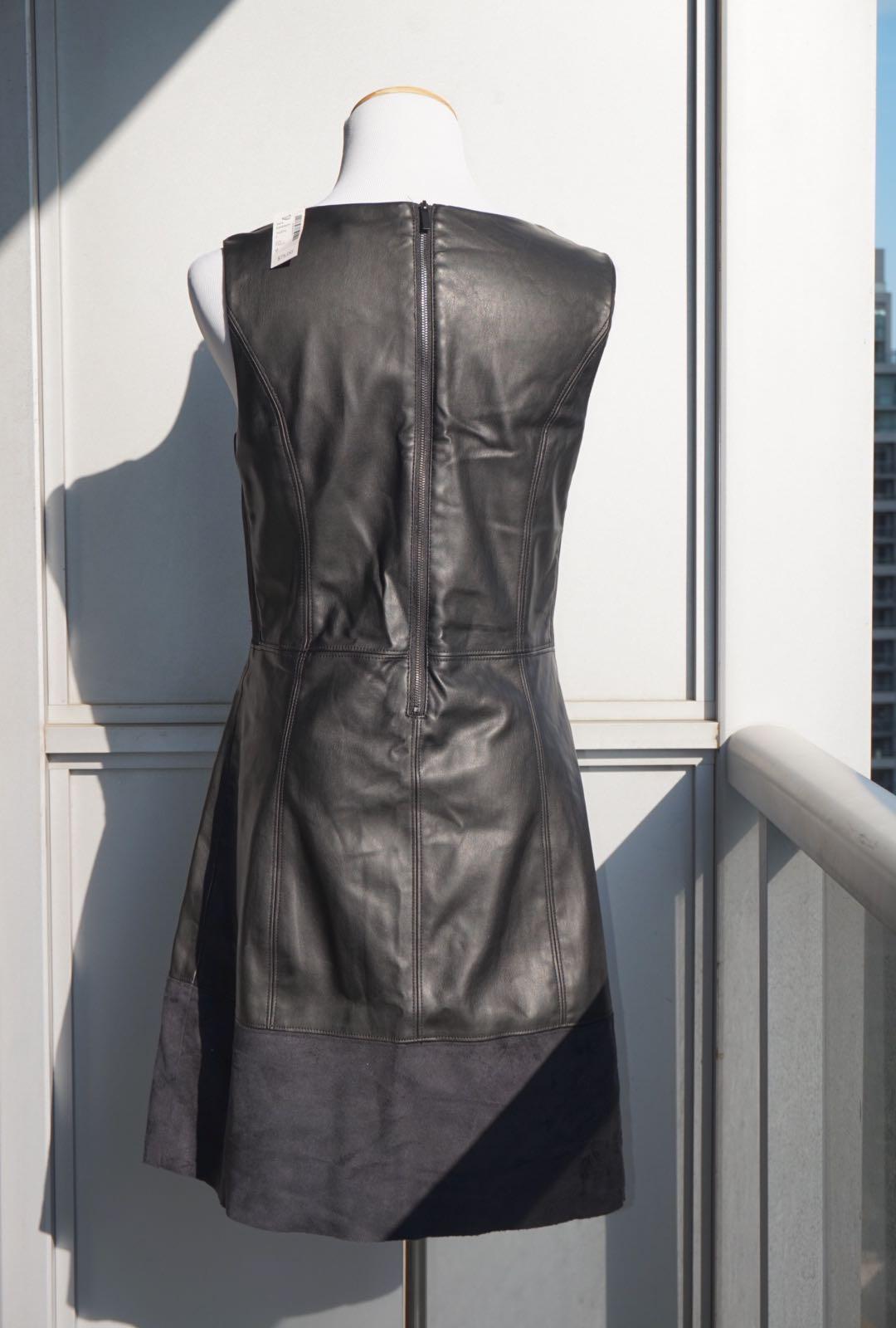 *NWT* Reitmans faux leather dress in black women size 9