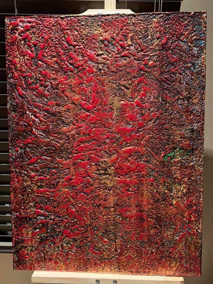 "Original Art Acrylic Wood Painting ""Treasure Series: Door Of Prosperity"""