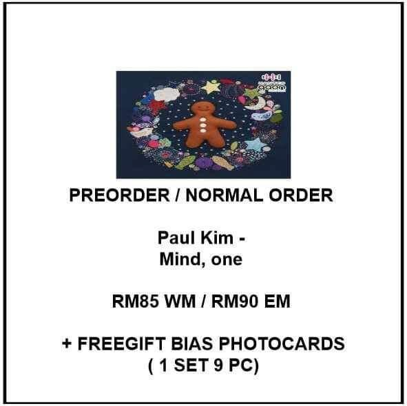 Paul Kim - Mind, one  - PREORDER/NORMAL ORDER/GROUP ORDER/GO + FREE GIFT BIAS PHOTOCARDS (1 ALBUM GET 1 SET PC, 1 SET GET 9 PC)