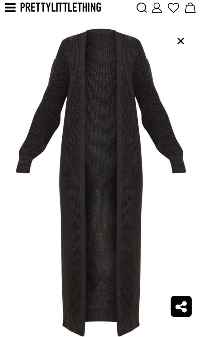 Pretty Little Thing Charcoal Maxi Cardigan (Small)