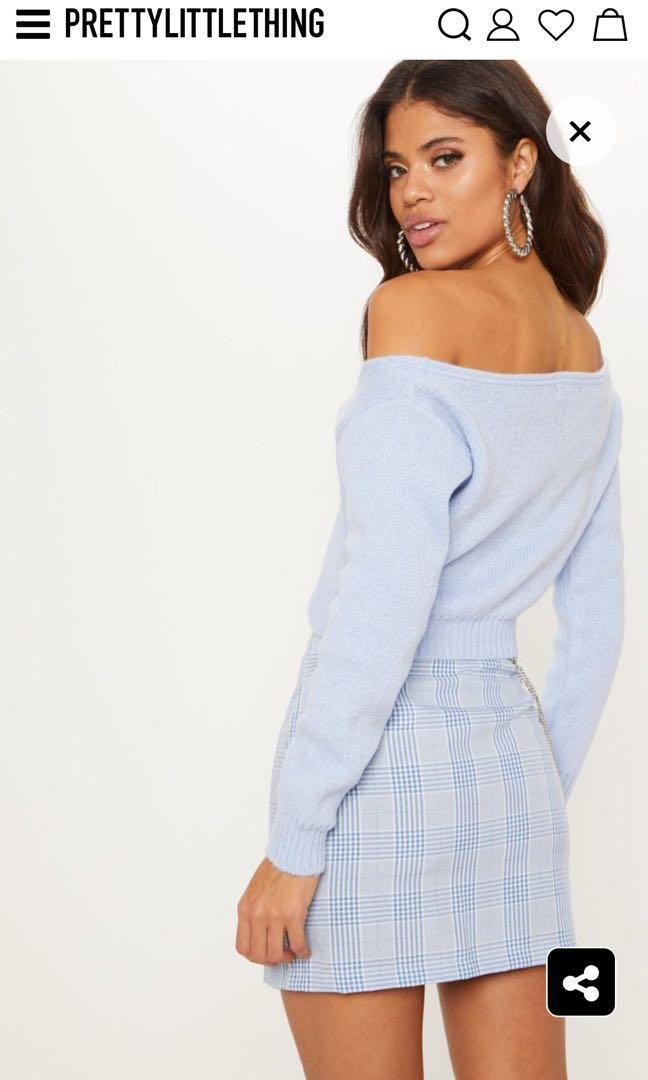 Pretty Little Thing Off Shoulder Soft Knit Cropped Sweater (Small)