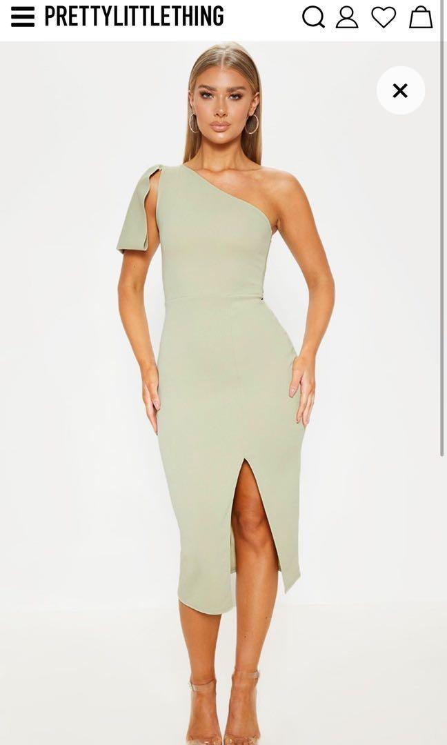 Pretty Little Thing Sage Green One Shoulder Midi Dress (Small)