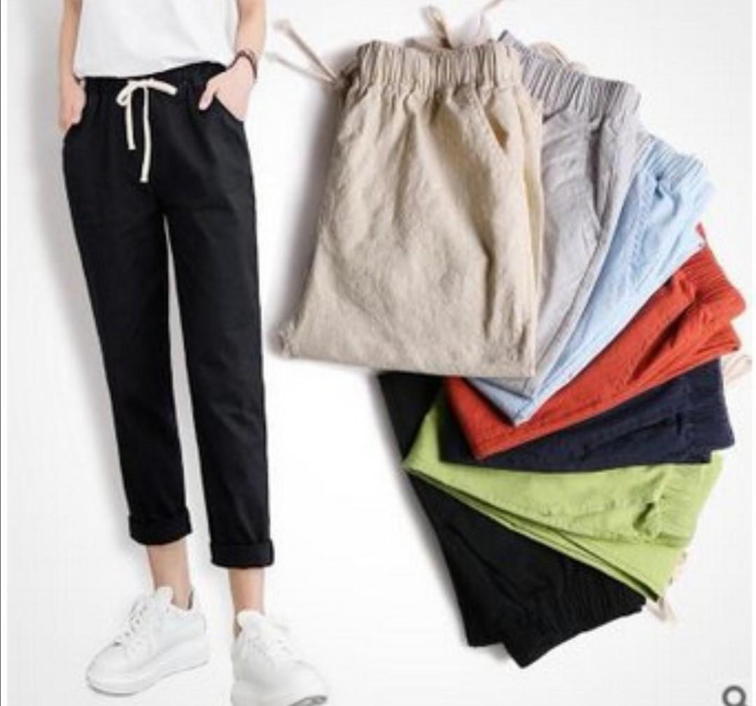 (S-XXL)Korean Harajuku Women Loose Volume Cotton Short Sleeve Cotton Black Pants