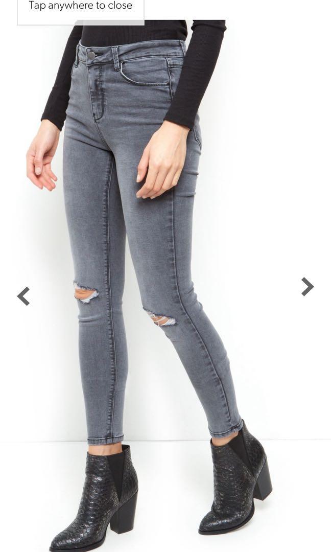 (UK10) BNWT New Look Dark Grey Ripped Skinny Jeans