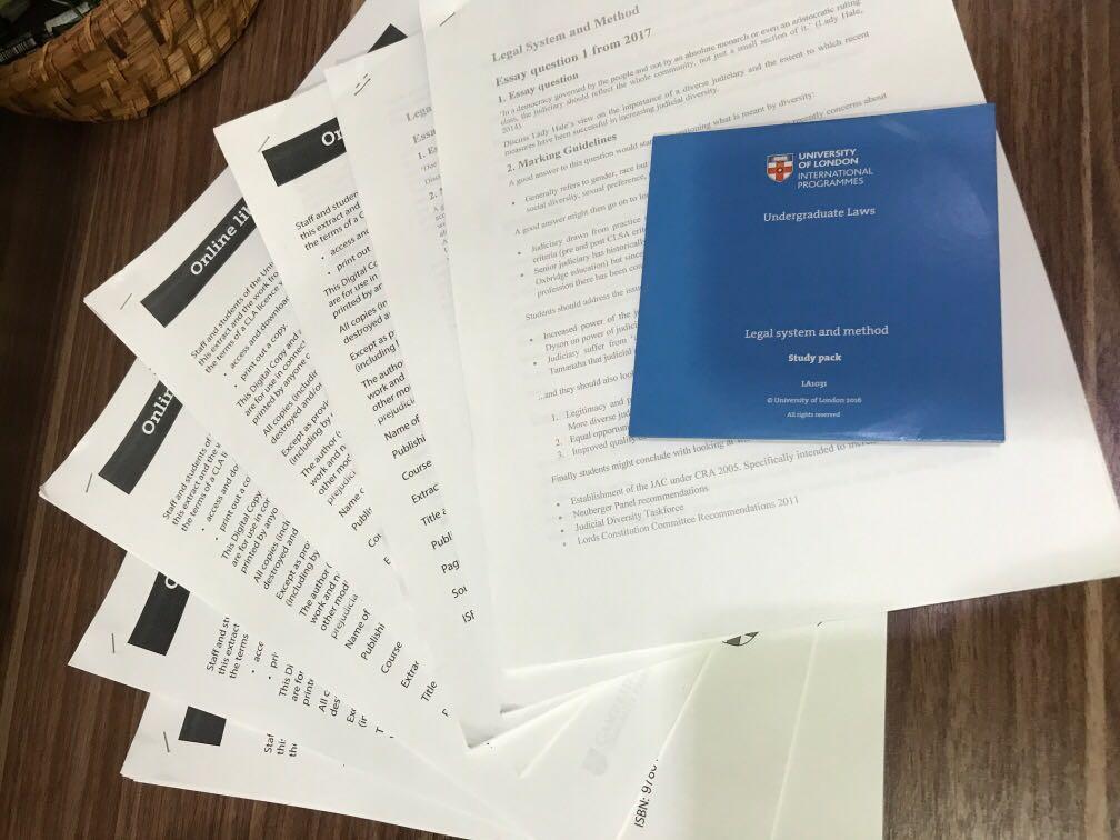 UOL Legal system & method essential readings