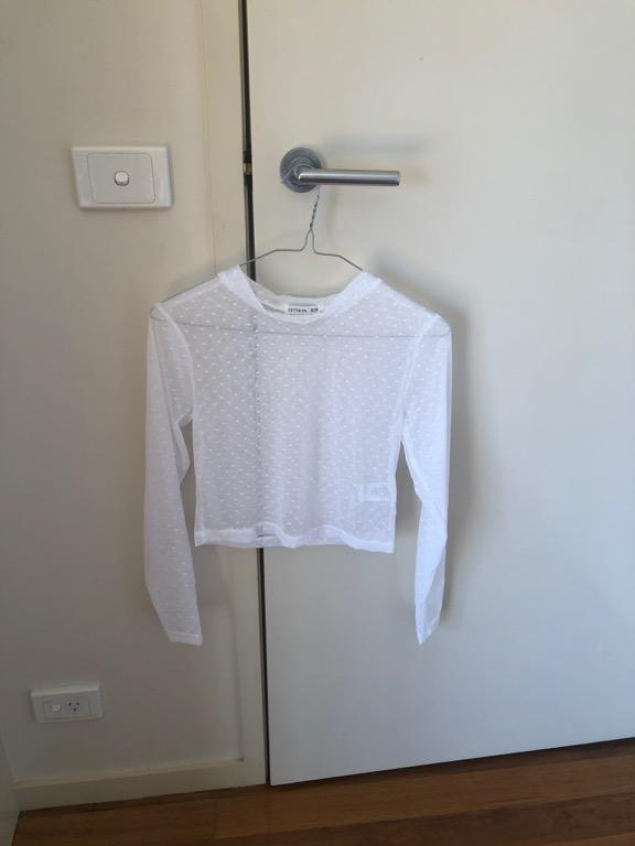 White, See-through top by cotton on with white dots
