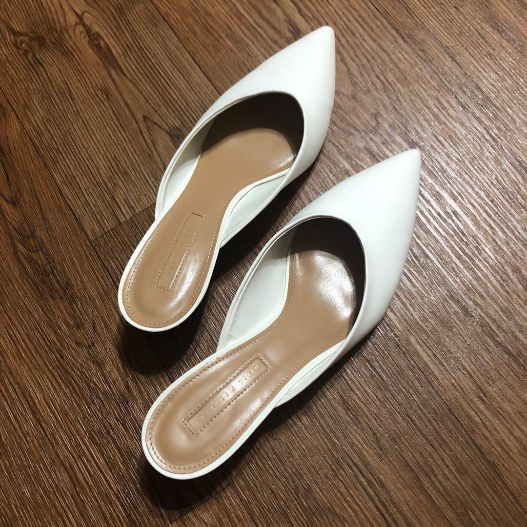 White wedge heel mules