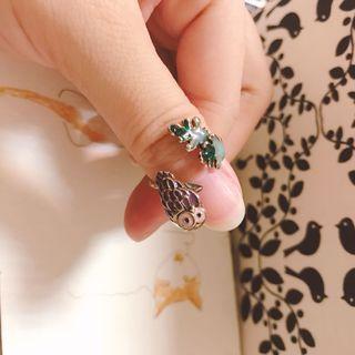 🦉貓頭鷹🍃葉子可調式戒指💍