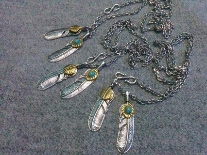 Native American Feather Shield and Stone Pendant Chain Necklace