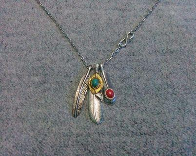 Native American Feather Shield Green Stone Pendant Chain Necklace