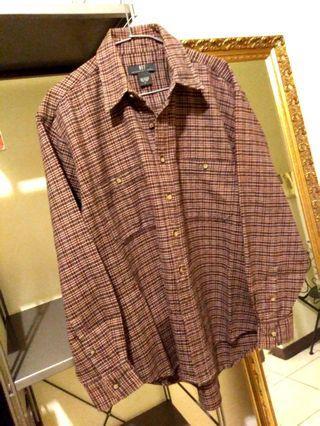 NET  咖啡紅  千鳥格紋  雙口袋  前短後長  超厚純棉襯衫