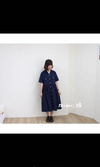Midori綠 小V領硬挺洋裝