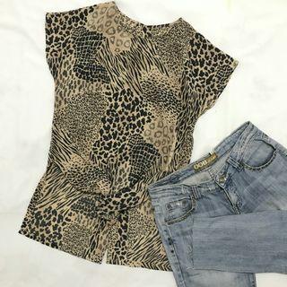 Preloved vintage brown animal print top / atasan blouse kawaii murah