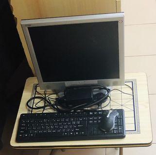 螢幕+鍵盤+滑鼠+變壓器+電子粗線