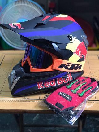 Redbull motorcross helmet and free gloves and goggles