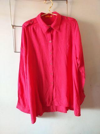 Pink Blouse Size L Brand Dual