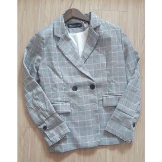 韓系英倫格子挺版西裝外套