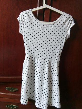 Cotton On XS White Dress Black Polka Dot