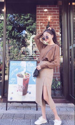 韓版咖啡色針織上衣