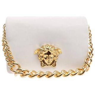 VERSACE white Palazzo Flap Handbag